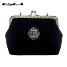 New Retro Ladies Velour Metal Chain Clutch Purses Women's Mini Flap Bride Evening Clutch Crossbody Messenger Bag