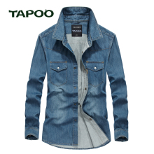 TAPOO 2017 Men's shirts European Size Summer Casual Slim Fit Long sleeve Cotton Male Denim Shirt 824