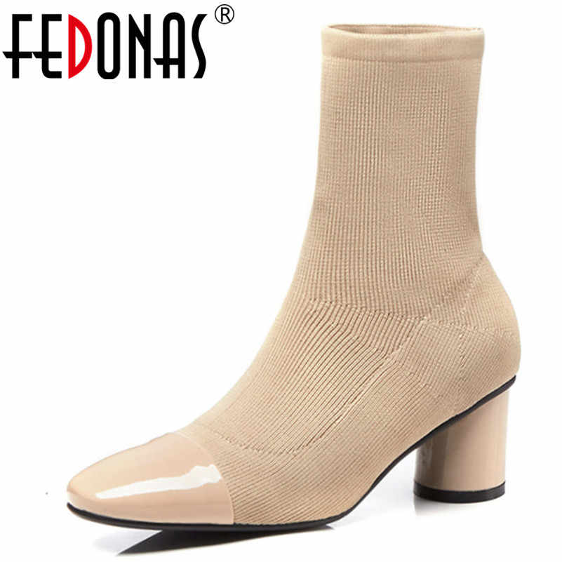 FEDONAS Kadın Orta buzağı Çizmeler Kadın Yüksek Topuklu Çorap Botları Marka Sonbahar Zarif Düğün parti ayakkabıları Kadın Bayanlar Ofis Pompaları