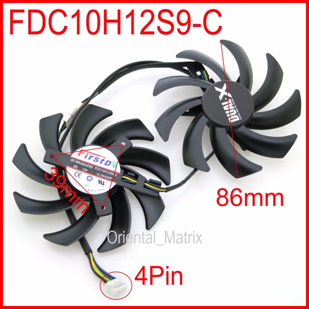 Free Shipping 2pcs/lot FDC10H12S9-C 86mm 0.35A 4Pin VGA <font><b>Fan</b></font> For <font><b>R9</b></font> 370X <font><b>270X</b></font> 280X 290X Graphics Card Cooling <font><b>Fan</b></font> image