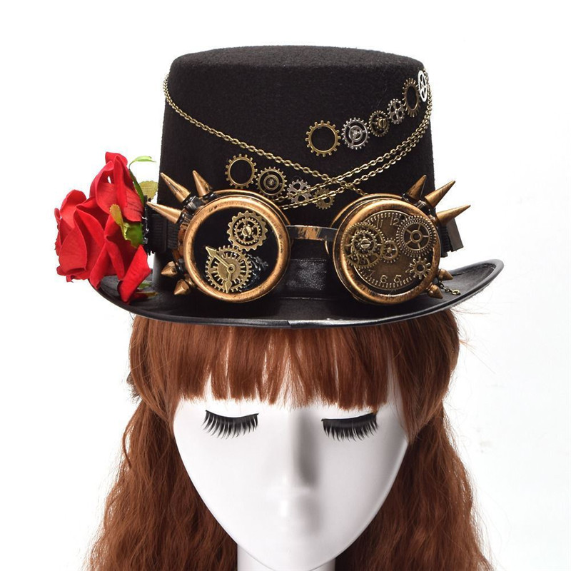 New Vintage Steampunk Gear Glasses Floral Black Top Hat Punk Style Fedora Headwear Gothic Lolita Cosplay