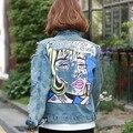 2016 Primavera Estilo Street Fashion Buraco Jaqueta Jeans calças de Brim Das Mulheres Com Padrão de Graffiti Menina Mulheres Jaqueta jeans veste femme 1538