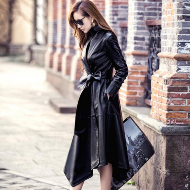 2018 new fashion Women PU Leather coat High Quality PU Leather Coats long Belted Slim PU Leather   Trench   Coats s1397