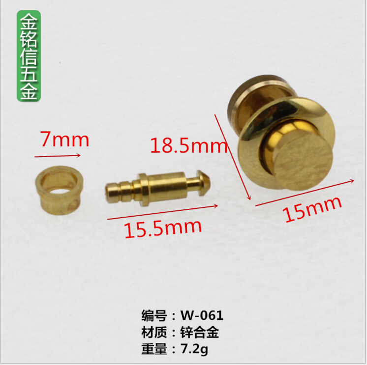 Zinc alloy 15mm Button Lock and Key for humidor box cigarette case / jewel box 100 pcs/Lot, gold decoration w-061 free shipping