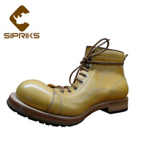 Sipriks Mens Lemon Yellow Cowboy Boots Luxury Goodyear Welted Shoes American Work Boot Imported Leather Derby Ankle Boots 2018