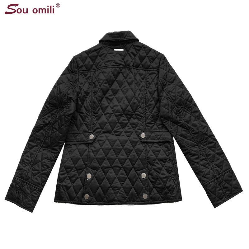 Quilted Cotton padded Jacket Women Black Lozenge Winter Jacket Plus size Coat femininas chaqueta Pockets Outerwear