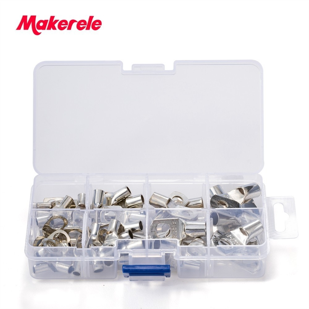 Free Shipping 60pcs Terminals set Wire terminals connector Bolt Hole Tinned Copper Cable lugs Cold-pressed crimp type rnb2 6 circular naked terminal type to cold pressed terminals cable connector wire connector 1000pcs pack