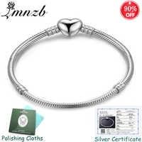 Freies Geschickt Zertifikat! Original 925 Solide Silber Herz Form Charme Armband Schlange Knochen DIY Perlen Armbänder Geschenk für Frauen LSL191