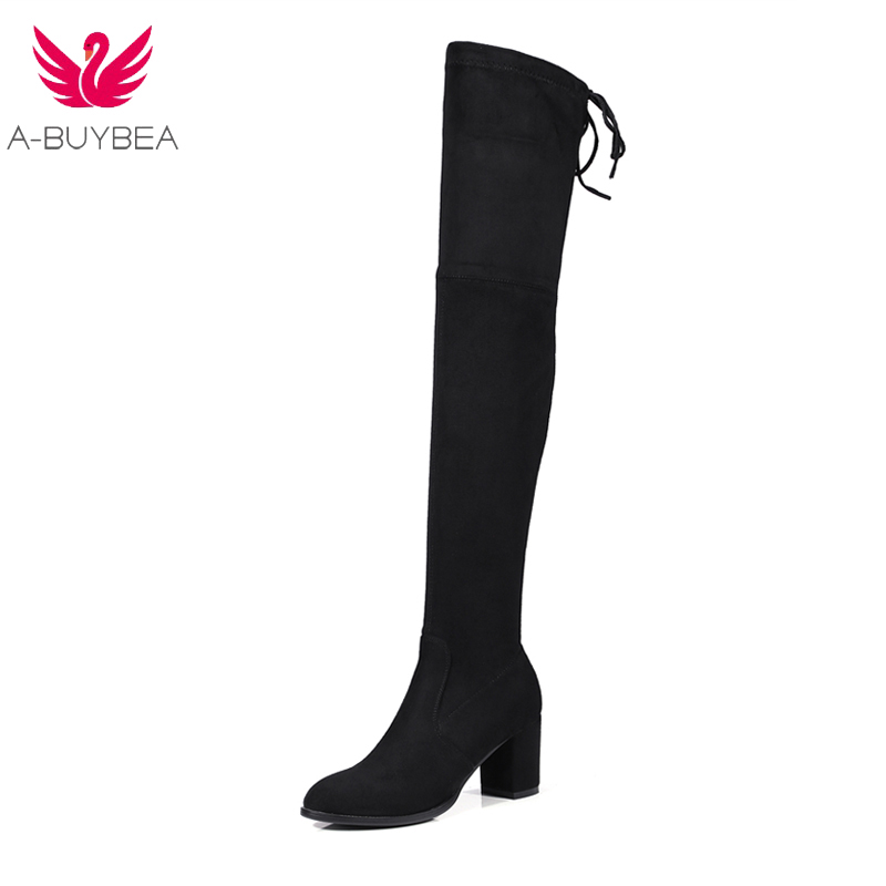 A-BUYBEA women boots 2018 new Autumn Winter Thigh High Boots Faux Suede Square heel sexy comfort ladies Over the Knee Boots