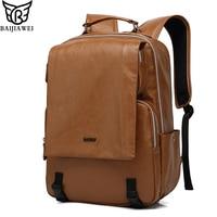 BAIJIAWEI 2018 New Men's Backpack PU Leather Leisure Bag Multifunctional Travel Backpack Man Business Laptop Shoulder Bag