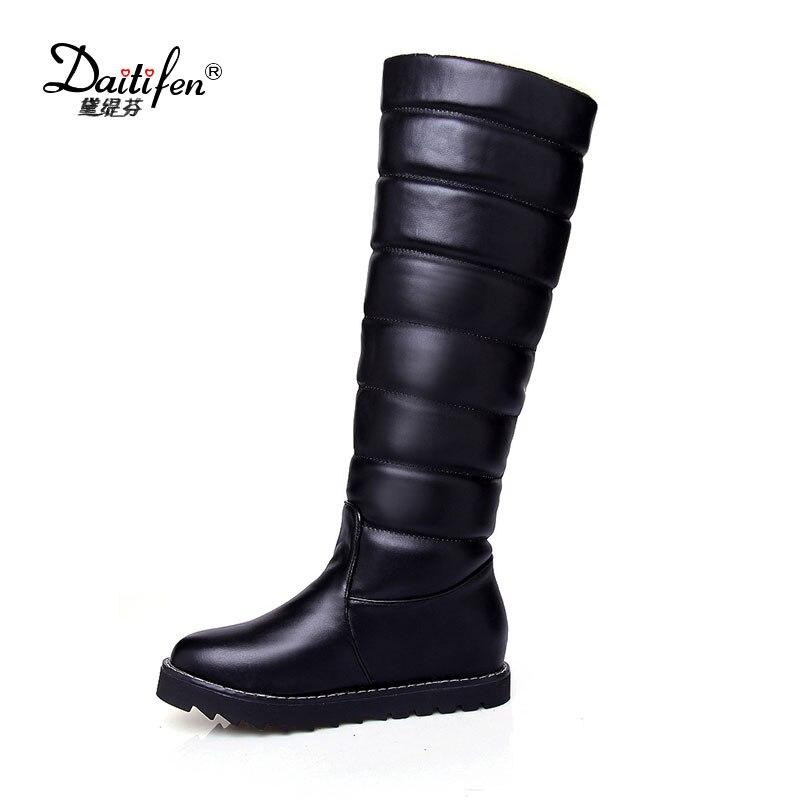 Новое поступление 2018 сладкий Стиль сплошной девочек Ботинки с высокими коленями зимние теплые тапочки на Сапоги и ботинки для девочек Для женщин зимние ботинки с плюшевым утеплителем
