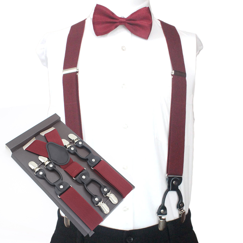 3.5*120cm Fashion 6 Clips Striped Braces Man Male Vintage Casual Suspenders For Adult Western Tirantes Trosers Strap Adjustable