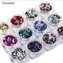 Feivielle 1 Set Dazzling Round Nail Glitter Sequins Dust Mixed 12 Grids 1/2/3mm DIY Charm Polish Flakes Decorations Manicure