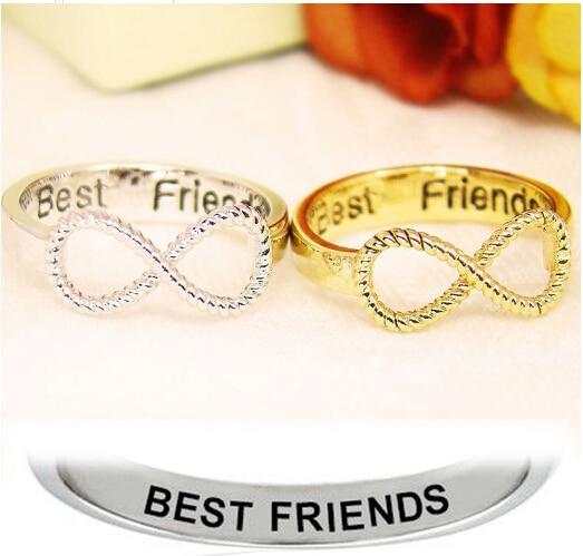 75ca46970f7b6 Carta Melhores Amigos Amizade Infinito Gravado Anel Mulheres Jóias de Prata  de Ouro em Anéis de Jóias   Acessórios no AliExpress.com