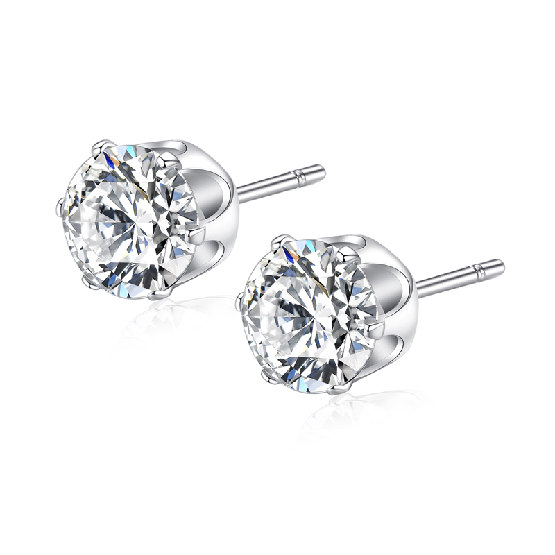 Wedding Earrings White Gold: Top Quality Single Round White Gold Color Cubic Zirconia