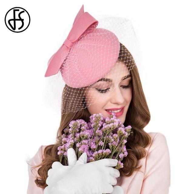 862b4caba Aliexpress.com : Buy FS Fascinators 100% Wool Felt Cocktail Hat For Women  Elegant Pink Ladies Wedding Dress Tea Party Pillbox Wool Pillbox Fedoras ...