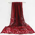 Bordado de lujo flores fronteras foulard bufanda musulmán de hijabs bufandas de pashmina de la manera hueco de encaje de flores de encaje patchwork llanura