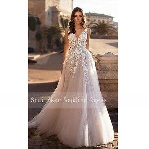Image 2 - Marvelous champagne V ausschnitt Hochzeit Kleider 3D Floral Applizierte Spitze Brautkleider Tüll vestido de novia Plus größe