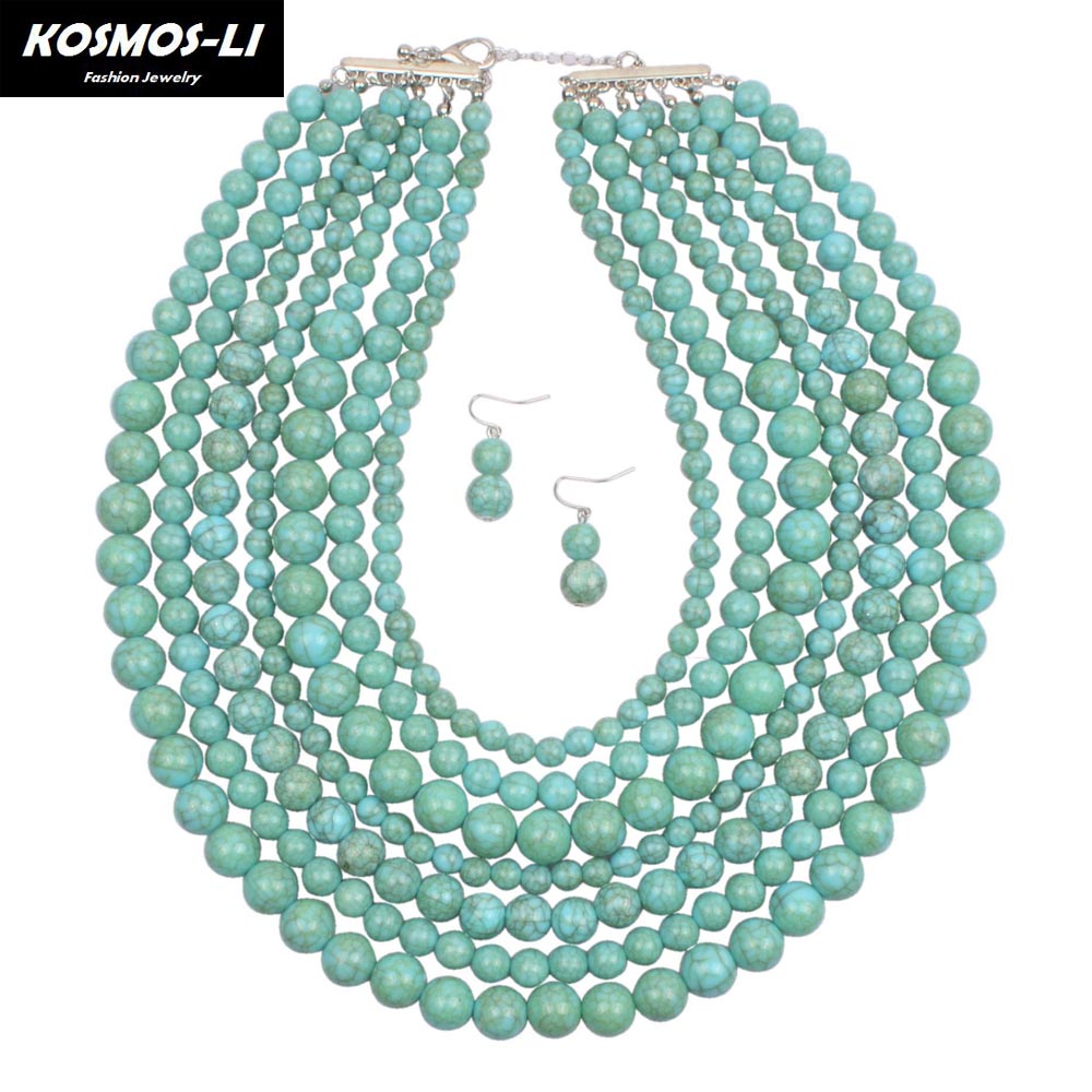 Maxi Necklace New Fashion Simulated Stone Resin Bead Multi Layer Strand Boho Necklace For Women Hyperbole Jewelry 6560