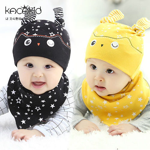 New Arrival Newborn Fashion 100% Cotton Baby Bib And Cap Baby Clothing Set(Cap/Bib)