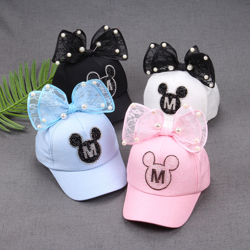 2017 Children Hip Hop Baseball Cap Summer Baby rabbit ear pearl bow kids Sun Hat Boys Girls snapback Caps for 2-8 years old baby kids baseball season clothes baby girls love baseball clothing girls summer boutique baseball outfits with accessories