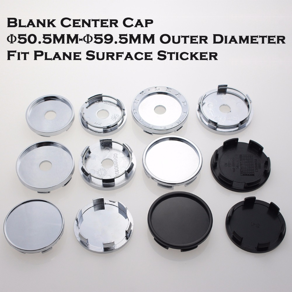 Blank Wheel Center Cap For Rims 50.5/54/56/58/59.5MM No Logo Without Emblem Car-Covers Cap Fit Plane Surface Sticker SET OF 4
