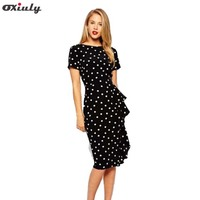 New Women Vintage Dot Print Short Sleeve O Neck Stretchy Slimming Party Dress Vintage Knee Length