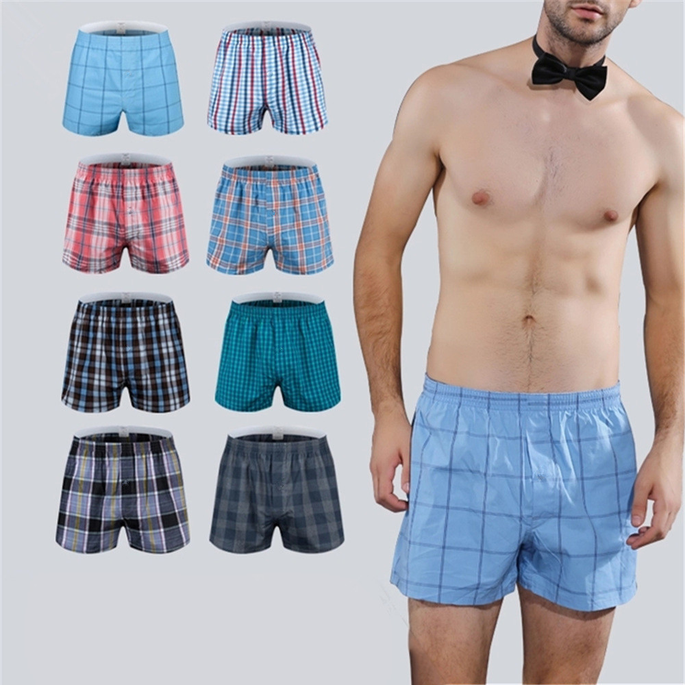 4Pcs/Lot Classic Plaid Men's Boxers Cotton Oversize Mens Underwear Trunks Woven Homme Arrow Panties Boxer Plus Size 4XL 5XL 6XL