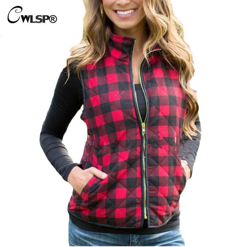 CWLSP 2017 Slim Women Red Plaid Vest Zipper Pockets Wild Fashion Top Quality Spring Autumn Women