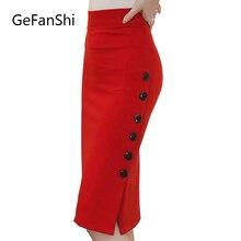 Plus Size New Fashion 2017 Women Skirt Midi Skirt Slim OL Sexy Open Slit Button Slim Pencil Skirt Elegant Ladies Skirts 2 Colors