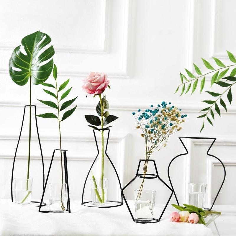 Nordic เหล็กแจกันสำหรับพืชชั้นวางของแจกันดอกไม้สวนโมเดิร์นสร้างสรรค์แจกันสำหรับปีใหม่ตกแต่...