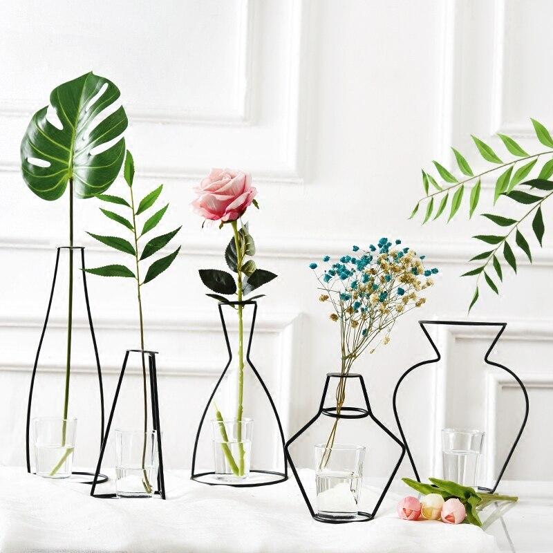 Nordic Eisen Vasen für Pflanzen Regale Blume Vase Garten Moderne Kreative Vase für Neue Jahr Dekor Hause Dekoration Zubehör
