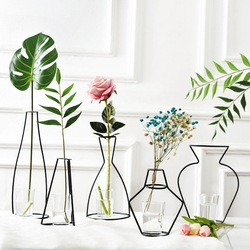 Nordic Iron Vases for Plants Shelving Flower Vase Garden Modern Creative Vase for New Year Decor Home Decoration Accessories