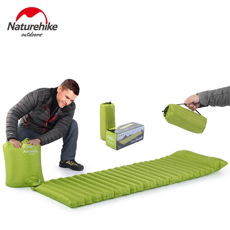 NH NatureHike 혁신적인 슬리핑 패드 패스트 필링 에어 슬리핑 백 풍선 초경량 캠핑 에어 매트리스 베개 550g