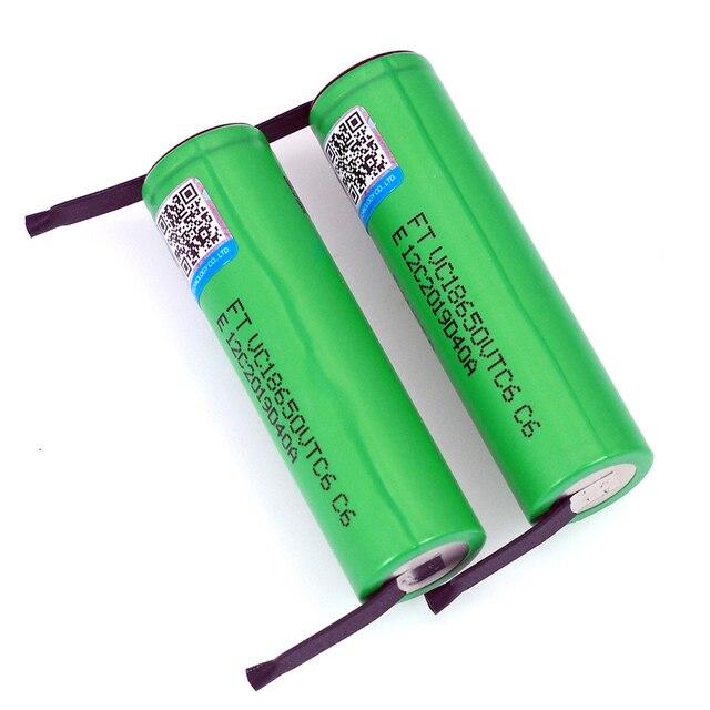 VariCore VTC6 3.7V 3000 mAh 18650 Li ion Rechargeable Battery 30A Discharge VC18650VTC6 batteries + DIY Nickel Sheets