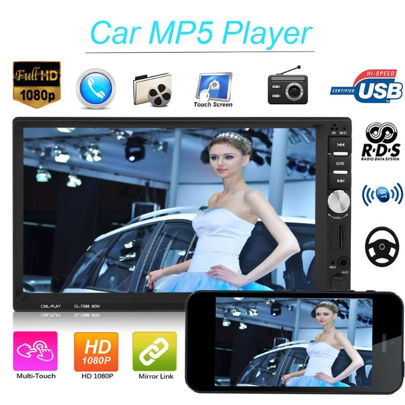 7inch HD Touch Screen 1024*600 Player MP5 SD/FM/MP4/USB/AUX/Bluetooth Car Audio MP5 Player TF USB FM Radio Media Player Hot Sale leshp 7001 hd 1080p touch screen with am rds music movie player bluetooth car radio video mp5 player autoradio fm aux usb sd