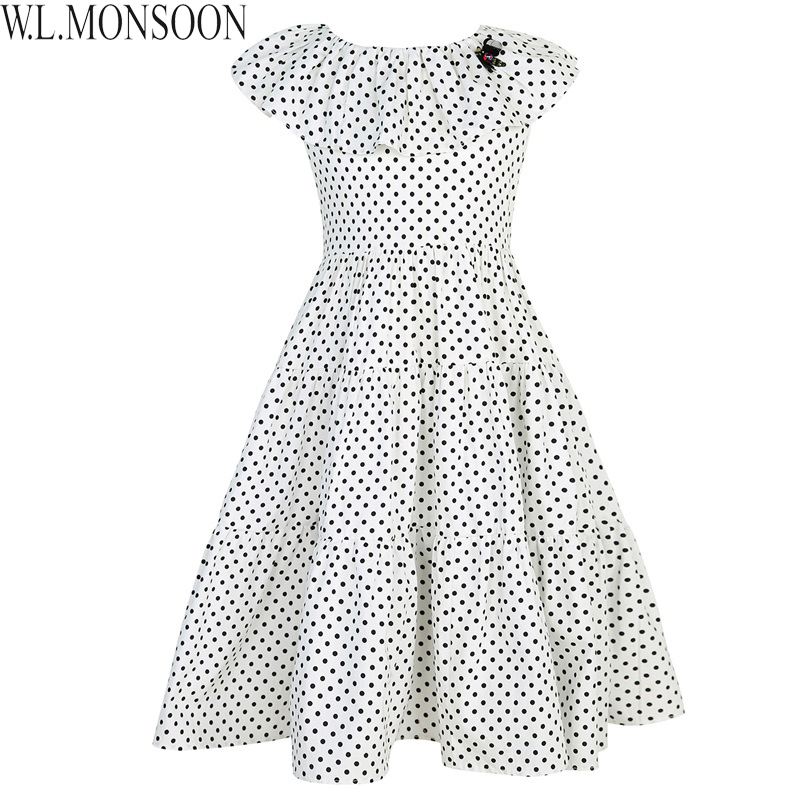 W.L.MONSOON Girls Summer Dress 2018 Brand Kids Dresses for Girls Costume Robe Princesse Enfant Fille Children Dot Dress 3-12Y пудра на минеральной основе innisfree no sebum mineral pact
