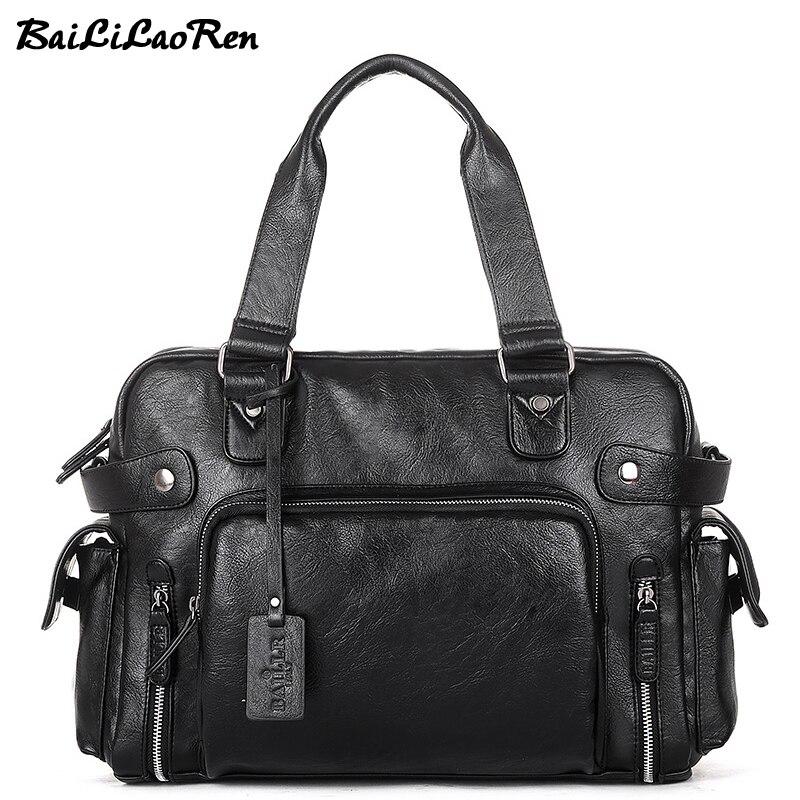 BaiLiLaoRen Fashion PU Leather Travel Handbags Large Capacity Designer Male Handbags High Quality Casual Tote Large Weekend Bags