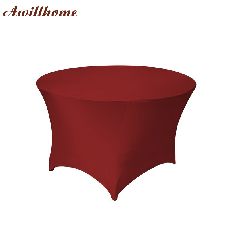 Free shipping 30pcs 4 ft round stretch table cover for 10 ft table cloth