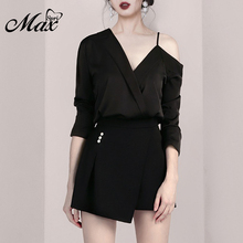 Max Spri 2019 New Women Two Piece Sets Fashion V Neck Top Sexy Office With Black Short Skirts Casual Lady Hot