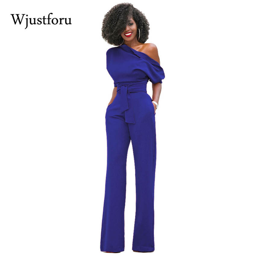 Wjustforu 2017 Fashion Off One Shoulder Elegant Jumpsuits Women Plus Size Rompers Womens Jumpsuits Short Sleeve Female Overalls