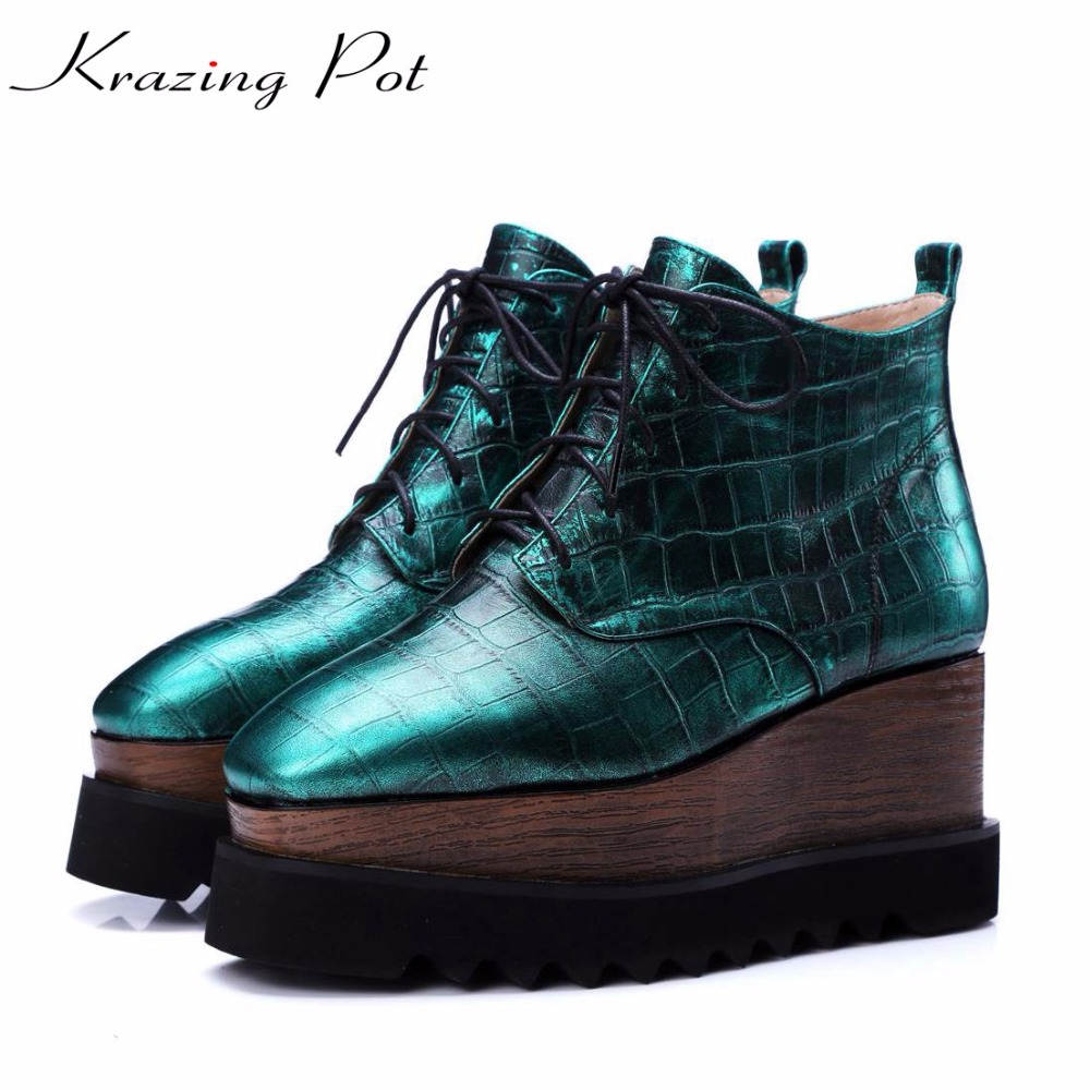 Krazing pot natural leather high street fashion square toe high heels lace up winter boots fashion superstar ankle boots L3f1 krazing pot genuine leather sheep skin thick high heels square toe zipper boots women superstar party western mid calf boots l17