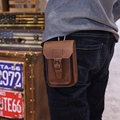 Men crazy horse Genuine Leather Vintage Waist Purse Clutch Bag fashion 5 inch cigerate money Moible leisure bag SL031