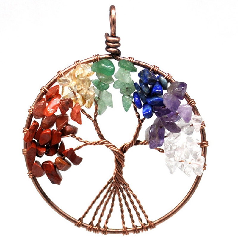 7 Chakra Jewelry - Tree of Life Pendant Amethyst Rose Crystal Necklace Gemstone 4