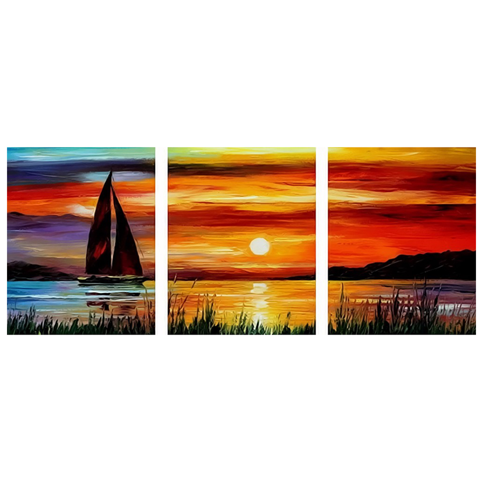 HD Printed Pictures Painting Wall Art Modular Posters 3 Panel Sunset Sea Boat Modern Canvas Living Room Framework Home Decor