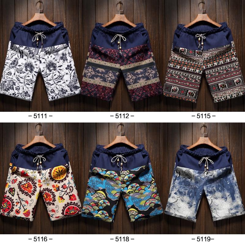 Shorts Brand Linen Bermuda Men's Cotton Fashion Beach Summer Casual 6-Colors Stitching