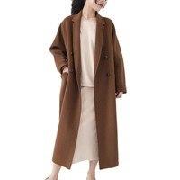 Осенне зимнее двустороннее кашемировое пальто Женская куртка длинный свободный шерстяной костюм воротник новый однотонный кардиган ручно