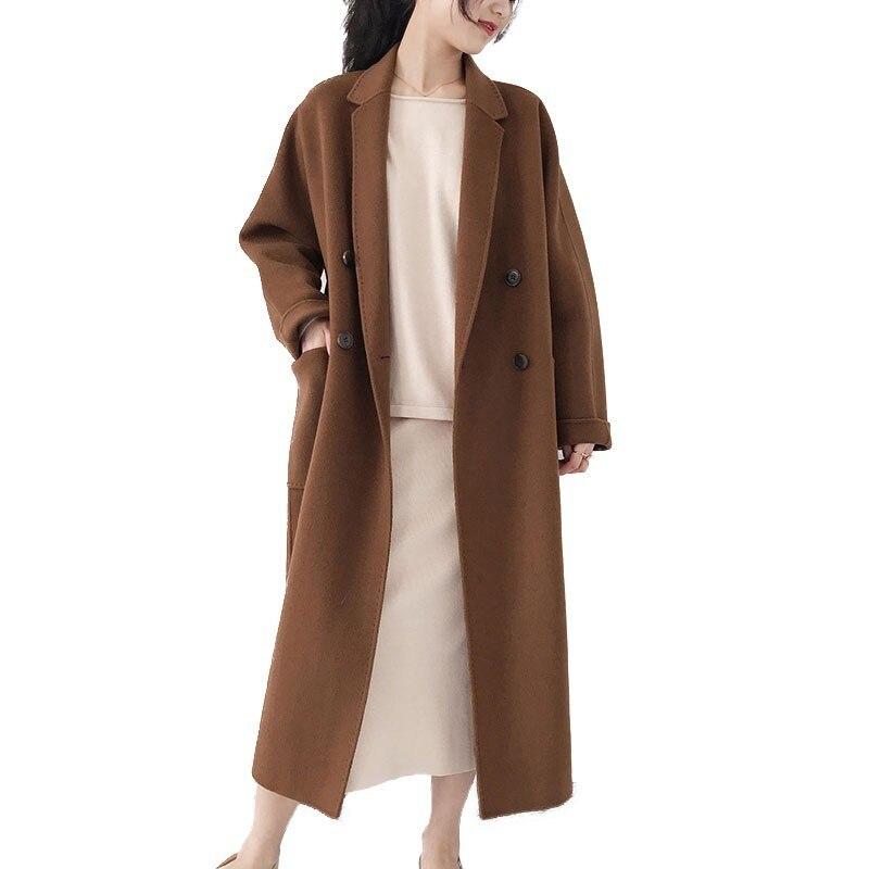 Automne et hiver Double face pur cachemire manteau femme veste longue lâche laine costume col nouveau couleur Pure Cardigan à la main HJ32