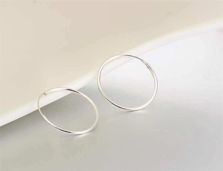 92ca256f2 ... 6 Size Real 925 Sterling Silver Round Circles Small Endless Hoops  Earrings For Women Baby Girls ...