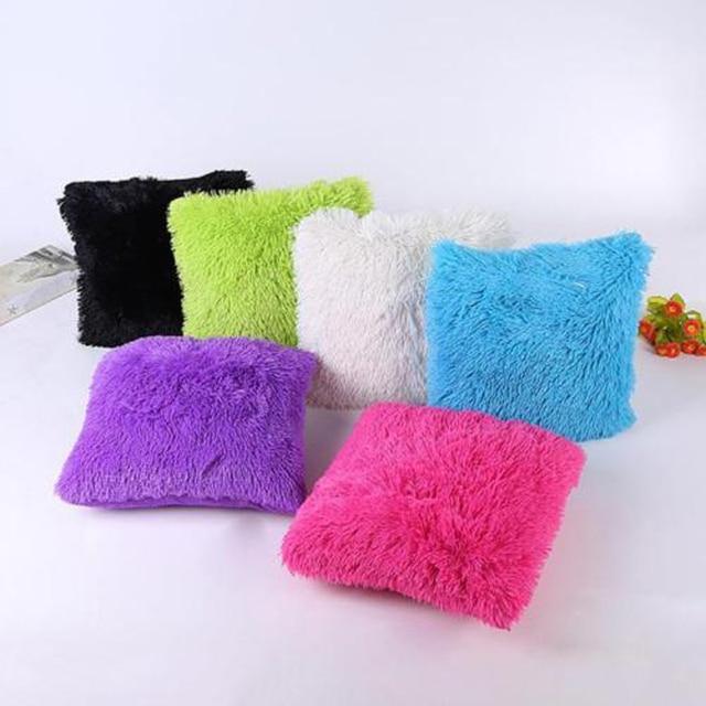 Funda de cojín decorativa al por mayor de piel sintética de felpa suave  sólida almohadas para 472b71ebd546